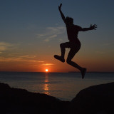 Jumping into the sunset