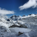 The Khumbu Glacier is located in the Khumbu region of northeastern Nepal between Mount Everest and the Lhotse-Nuptse ridge. With elevations of 4,900 m (16,100 ft) at its terminus to 7,600 m (24,900 ft) at its source, it is the world's highest glacier