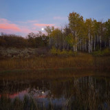 Moon reflection on a quiet fall evening