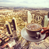 Every beautiful city morning should start with a cup of coffee.