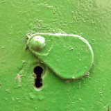 Green keyhole cover in green door.