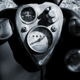 instrument cluster on an old Indian motorcycle