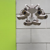 Six security cams - looking both cute and impressive. The green wall makes this image less moody.