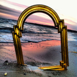 Picture frame on beach