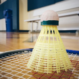 Badminton and shuttle in the gym