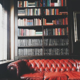 A leather couch with an old book case at Union Hall in Brooklyn, NY