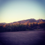 Sunset over Cave Creek mountains give a purple hue. Serenity at its best.