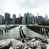 Waterfront of of New York's financial capital in Manhattan from Brooklyn