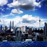 Level 37, skypool. Regalia condominium at Jalan Sultan Ismail. View of Kuala Lumpur city. Capital city of Malaysia. Twin tower and KL tower right hand side.