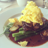 Smothered prime iron steak from Parker's light house in long beach #parkerslighthouse