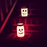I painted these Mason jars for Halloween