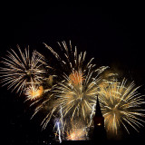 Perfect ending of a great one-week celebration. The fireworks transformed the medieval church into a silhouette.