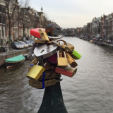 Love locks on one of the many Amsterdam bridges.
