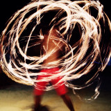 Long exposure of a fire dancer