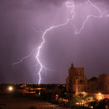 Summer lightning storm at Mission San Xavier del Bac in Tucson, AZ.