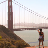 Overlooking the Golden Gate Bridge with the San Francisco skyline in the background