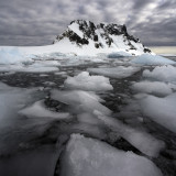 Sea ice in the Lamaire Channel on the Antarctic Peninsula in Antarctica.