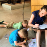 Family coloring session at the DMA