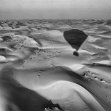 Hot Air Balloon shadow on desert (black and white)