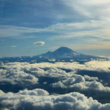 View of Mt Rainier from the plane