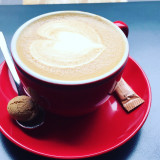The perfect flat white coffee. A great way to start the day!
