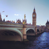 Westminster Bridge in London. Big Ben & Houses of Parliament in the background.