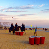 Cops on horses playing beer pong