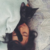 Sleeping girl with kitty