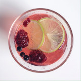 G&T with raspberries, juniper berries and lime