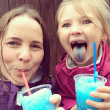 My daughter and me enjoying a slush puppy drink during the winter. Why? Because we could. Love spending time with my daughter.