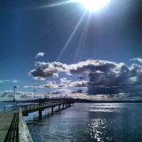 I took this photo of the Des Moines fishing pier at high tide during the summer.