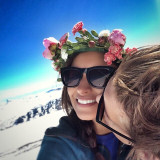 Winter love with flowers on top of Norways highest mountain