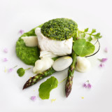 Halibut with a herb crust and green pea purée