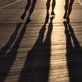 Joggers on the boardwalk/Atlantic city NJ