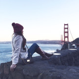 Nature's farewell kiss for the night // Caught the sunset at Golden Gate Bridge!