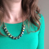 Green Shirt and Statement Necklace