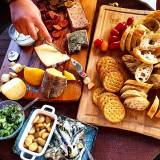 A wonderful time with friends on my neighbour's porch enjoying fine cheese, crackers and homemade goodness