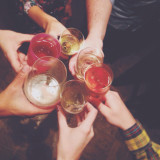 New Year's Eve cheers with friends