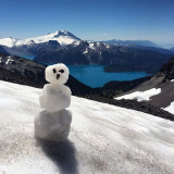 Snowman snow hiking