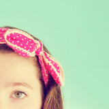 girl with pink bow