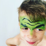 Hulk face painted kid