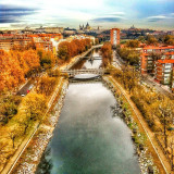 Madrid from the Cablecar in the middle of the Manzanares River, autumn, my birthday very good sky trip in family
