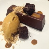 Chocolate insanity!! So thick and rich, paired with salted caramel ice cream and peanut butter