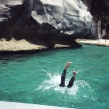 diving off the side of a boat in New Zealand