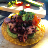 Famous pulpo (octopus) ceviche tostada from Valle de Guadalupe in Baja Norte