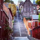 High and steep stairs in colorful city  (Liege, Belgium, Europe)