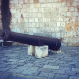Old steel cannon on streets of island Vis in Croatia