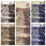 Mixed media train tracks