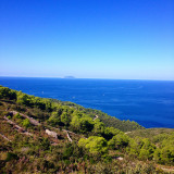 Scenic view from island Vis to island Bisevo in Croatia