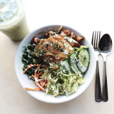 Poke bowl with iced green tea latte